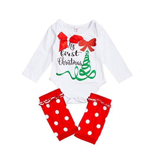 OUCHI® Infant Baby Boy Girl Christmas Romper Jumpsuit Outfits Clothes With Socks Bowknot 100cm/fit 12-18 (Reg 14 Piece)