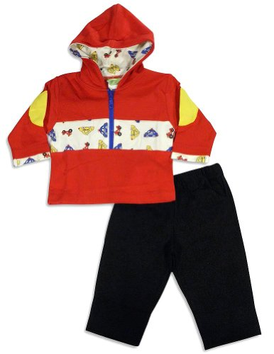 SnoPea - Newborn And Infant Boys Long Sleeve Pant Set, Red, Black 25816-6Months