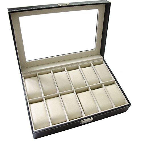 Feibrand Uhrenbox für 12 Uhren Uhrenkasten Schwarz Glas