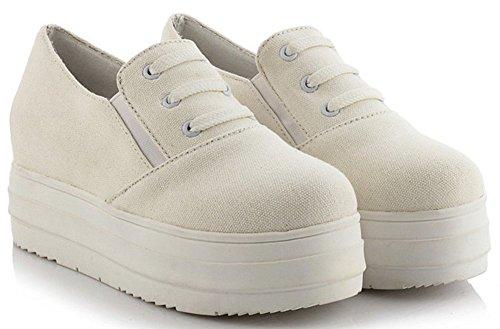 Idifu Womens Confortable Bout Rond Mi-talon Plate-forme Toile Espadrilles Augmenter Chaussures Plates Élastiques Blanc