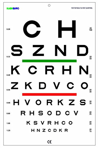 20' Eye Chart (SLOAN Chart with Red/Green Lines 20 Ft)