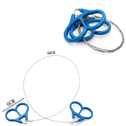EFINNY Outdoor Survival Kits Tool Blue Handle Stainless Steel Wire Saw