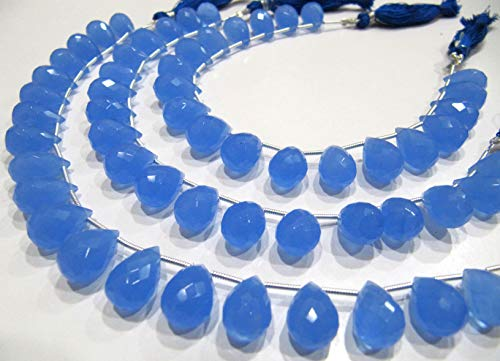 Blue Chalcedony 10x14mm Tear Drop Shape Hydro Quartz Top Quality Gemstone Briolette Beads Strand 8 Inches