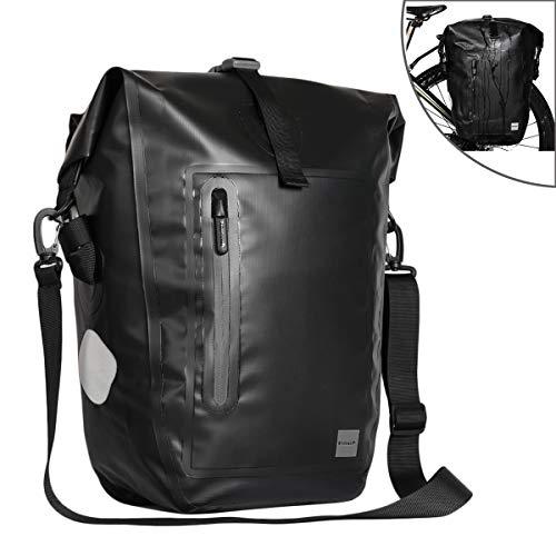 CamGo Rhinowalk 25L Bike Panniers Bag Waterproof Bike Saddle Bag Extensible Bicycle Rear Seat Bag Shoulder Bag with Rain Cover for Riding Cycling (Black)