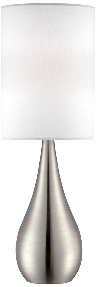 Teardrop Brushed Steel with White Shade 21-Inch-H Table Lamp