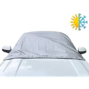 Car Windshield Cover for Winter Snow Removal- Magnetic Snow, Ice and Frost Guard - New 6x magnets Fits SUV, Truck & Car Windshields - Auto Windshield Snow Cover - Large over 5x6ft - Outback Shades
