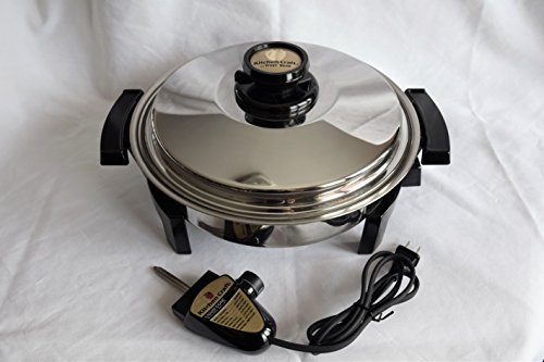 """WEST BEND * KITCHEN CRAFT * T304 Stainless Steel LIQUID CORE 11 ½"""" inch ROUND OIL CORE ELECTRIC SKILLET FRYING FRY PAN * AMERICRAFT * LUSTRE CRAFT * WATERLESS HEALTH COOKWARE – MADE IN USA"""