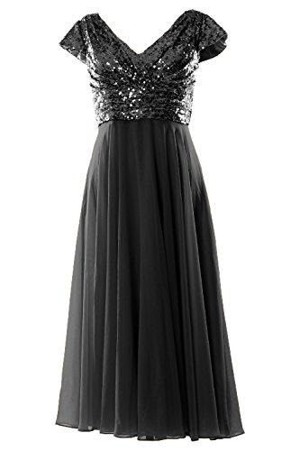 MACloth Cap Sleeve V Neck Sequin Chiffon Tea Length Bridesmaid Dress Formal Gown Negro