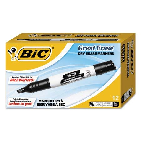 BIC Great Erase Grip Dry Erase Marker, Tank Style, Chisel Tip, Black, 12 Count by BIC