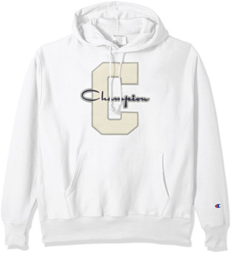 Champion LIFE Men's Reverse Weave Pullover Hoodie, White/Champion Script/c Logo, XL