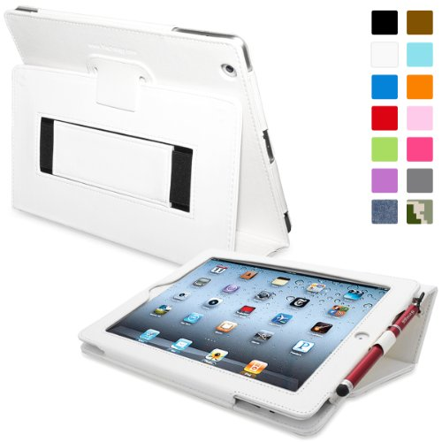 Snugg Leather Kick Stand Case for Apple iPad 2 - White