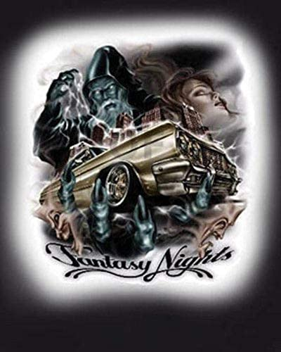 "/""Fantasy Nights/"" Lowrider Car Beautiful Woman City Urban Style Art Poster"