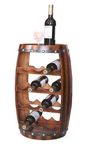Vintiquewise QI003283 Wooden Barrel Shaped 14 Bottle Wine Rack (Wooden Barrel Wine Rack)