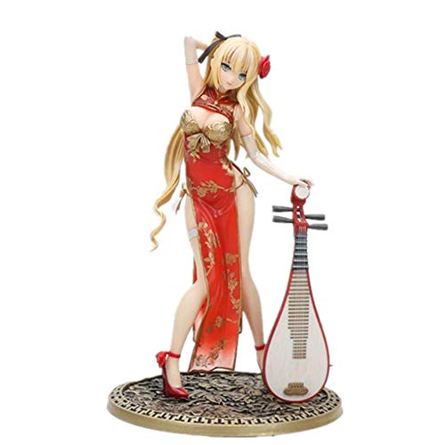 24cm (9.4 inch) - Action Figure Jinlian Figurine Gold Bottle Plum Figure - Cheongsam with Lute Hand PVC Collection Model Doll (Red)
