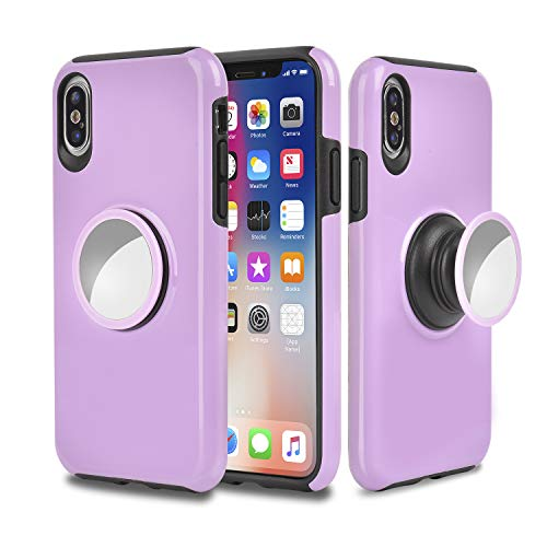 (iPhone Xs MAX Case,iPhone Xs MAX Case with Kickstand,MISSCASE Slim Shockproof Drop Protection 2 in 1 Hybrid Hard PC Covers Soft Rubber Bumper Protective Case for iPhone Xs MAX 2018 6.5 inch Purple)