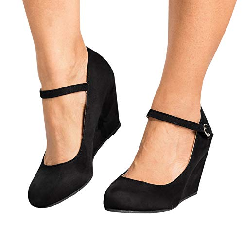 Syktkmx Womens Ankle Strap Mary Jane Wedges Pumps Closed Toe Spring Heeled Office Shoes Black 6 B(M) ()