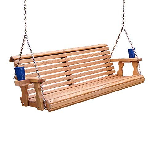 Amish Heavy Duty 800 Lb Roll Back Treated Porch Swing with Hanging Chains and Cupholders (4 Foot, Cedar Stain)