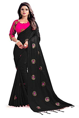 (Hiral Designer Indian Women Multi Color Cotton Paper Silk & Heavy embroidery Work Party Wear Saree With Blouse piece Indian (Black))