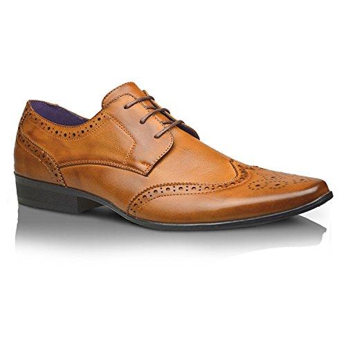Taille Cérémonie pour Fête UK Lacet 6 10 Xelay Hommes Tan 11 Élégantes Chaussures 8 doublé 7 Up Neuf Lace 12 9 Bureau Robe Cuir habillé nOYqwzC4x