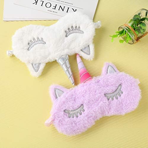 LURROSE Lot de 4 Masques de Sommeil en Peluche Licorne pour Dormir ou Faire la Sieste Blanc + Violet + d/égrad/é de Cinq Couleurs + Rose