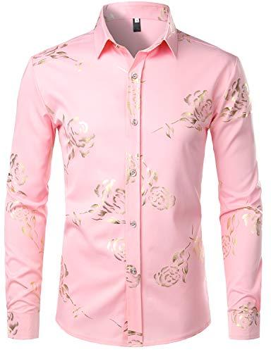 (ZEROYAA Mens Hipster Gold Rose Printed Slim Fit Long Sleeve Dress Shirts/Prom Performing Shirts Z56 Pink)