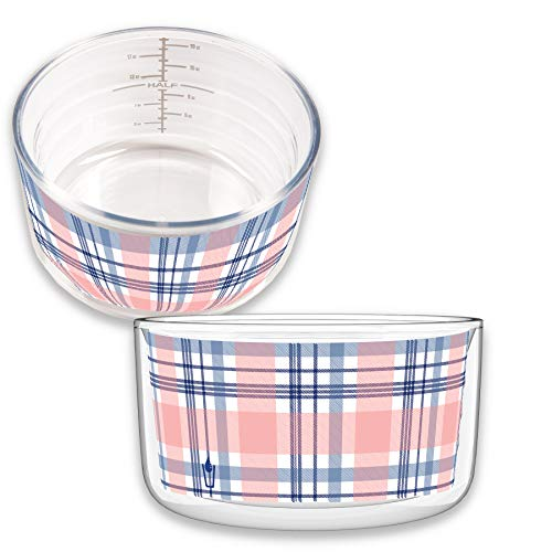Kompass MiLiOZ Double-Walled Insulated 2-Pack Microwaveable 22 ounce Plaid Bowl with Lid and Inside Measuring System