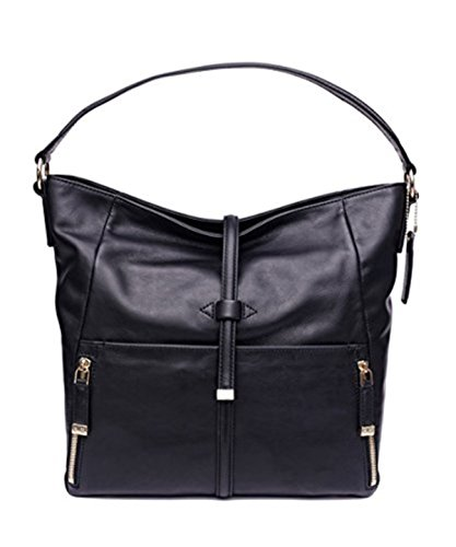 Kelly Moore Westminster Hobo Nappa Leather Messenger Shoulder Bag for Women (Midnight Black)