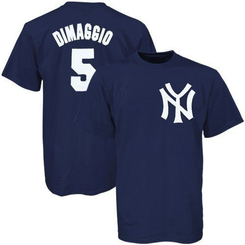 Majestic MLB New York Yankees #5 Joe DiMaggio Youth Navy Blue Cooperstown Player T-shirt (X-Large) ()