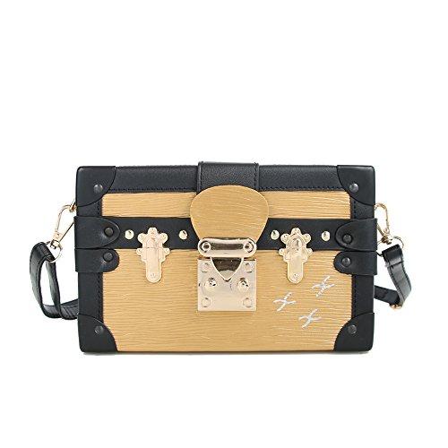 Beatfull Stylish Box Crossbody bag Designer Shoulder Bags for Women, Box Crossbody Purse Wallet, Party Evening Clutch Satchel Handbag (gold)