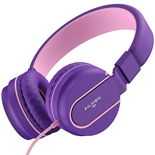 - AILIHEN I35 Headphones with Microphone Lightweight Foldable Portable Wired Headsets for Cellphones Tablets Smartphones Laptop (Pink Purple)