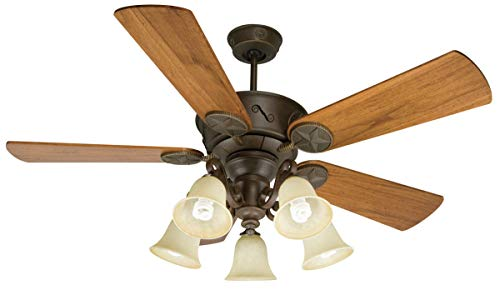 Indoor Ceiling Fans 5 Light Fixture with Aged Bronze Textured Finish LED Bulb 15