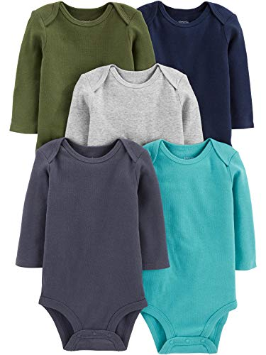 Simple Joys by Carter's Boys' 5-Pack Long-Sleeve Bodysuit, Solids, 0-3 Months