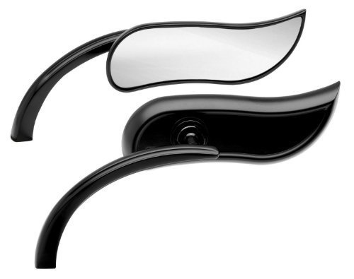 Arlen Ness Micro Die-Cast Mirror - Upswept Black - Right by Arlen Ness