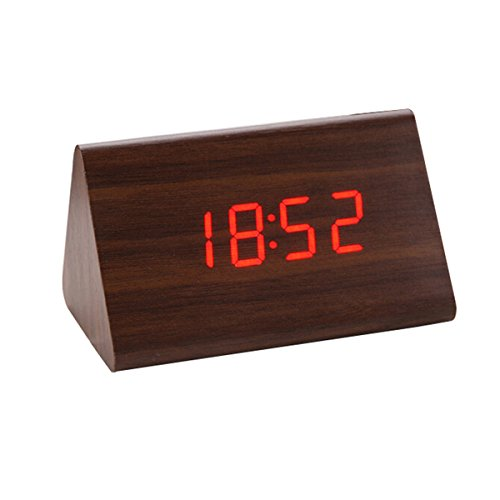 bouti1583 Wooden Triangular Digital LED Alarm Clock Bedside Date Thermometer Display Home Office Desk Decoration Sound Control(No adapter or batteries) ()