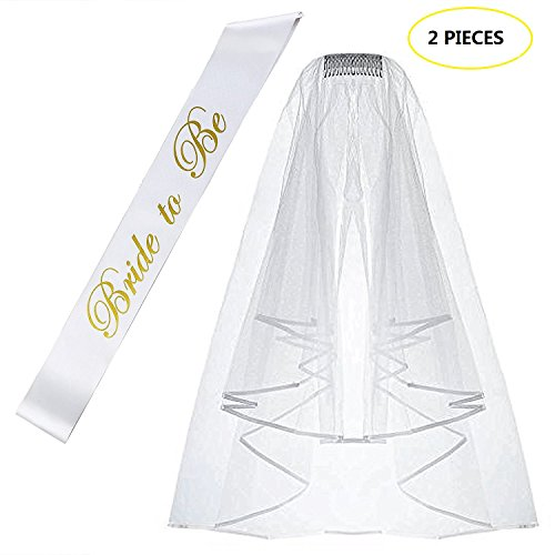 TiiMi Party Bride to Be Satin Sash & Shoulder Length Veil White Double Ribbon Edge Center Cascade Bridal Wedding Veil with Comb& Bride to Be Satin Sash- Bachelorette Party Decorations Supplies