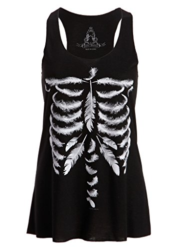 Halloween Muscle Shirt (Womens Black Feather Skull Skeleton Loose Fit Muscle Tee Tank Top – Size Small)