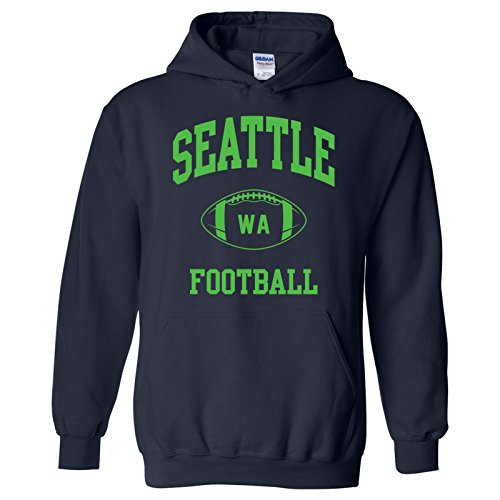 (Seattle Classic Football Arch American Football Team Sports Hoodie - 3X-Large - Navy)