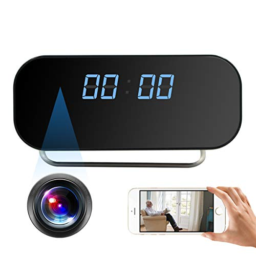 Alarm Clock Camera TTCDBF 1080P WiFi Mini Clock Camera Wireless Nanny Micro Security Survalliance Cam with Motion Detection, Night Vision, 150 Angle View, Real-time Record Video, Support iOS/Android