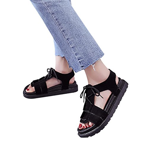 - vermers Hot Sale Women Beach Shoes Fashion Solid Round Toe Cross Tied Sandals Flat Shoes(US:8, Black)