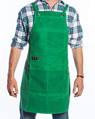 Waxed Canvas Shop Apron with Pockets - Waterproof Work Apron for Men & Women - Adjustable Up to 45 Inch waist - Woodworking Blacksmith Tool Shop - Includes Small & Large Pockets