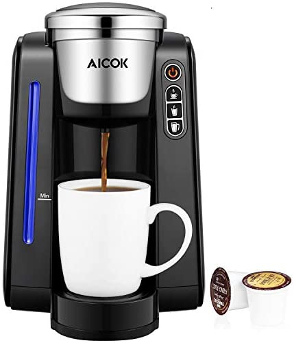 AICOK Single Serve Programmable Coffee Maker, 5 Brew Sizes One Cup Coffee Machine for Most Single Cup Pods Including 1.0 2.0 K-CUP pods, 45 OZ Large Removable Water Tank, Quick Brew Technology