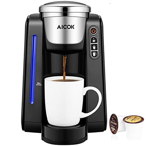 Aicok Single Serve Programmable Coffee Maker, Five Brew Sizes for Most Single Cup Pods Including K-CUP pods, 45 OZ Large Removable Water Tank, Quick Brew Technology, 1420W, Black