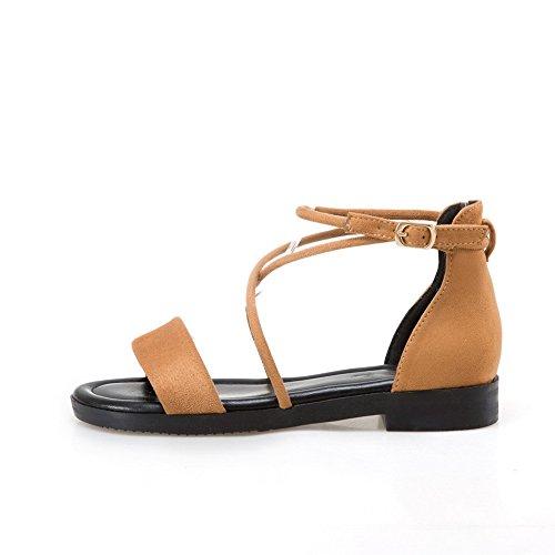 BalaMasa Womens Square Heels Metal Buckles Peep-Toe Suede Flats Sandals ASL04251 Brown BmuWW7tjhq