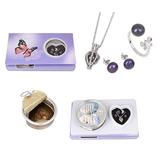 Love Wish Freshwater Pearl Oyster Kit - Harvest Your Own Pearl - Great Gift by Kiss Me (Finger Ring, Earrings, Necklace, Freshwater Pearl with Shell) (Black)