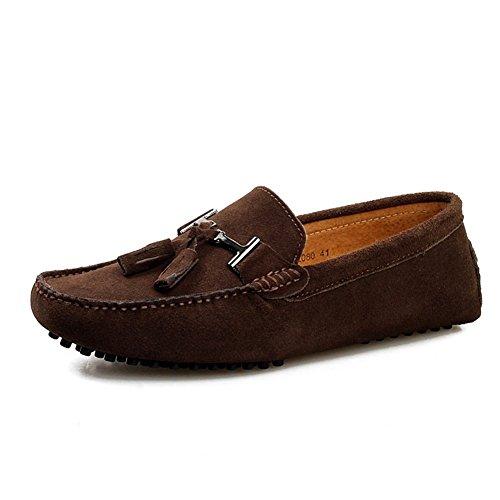 Oneforus Casuales Zapatos Alta de Los Hebilla de de Estaciones Guisantes de de Zapatos Cuatro marrón Zapatos de de Hombres de Metal Calidad Guisantes Cuero Zapatos rqarO