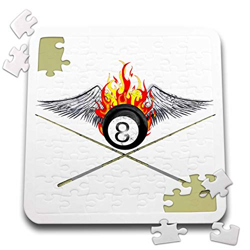 (3dRose Macdonald Creative Studios - Billiards - Flaming 8 Ball and Pool cues for Anyone who Plays Billiards or 8 Ball. - 10x10 Inch Puzzle (pzl_299266_2))