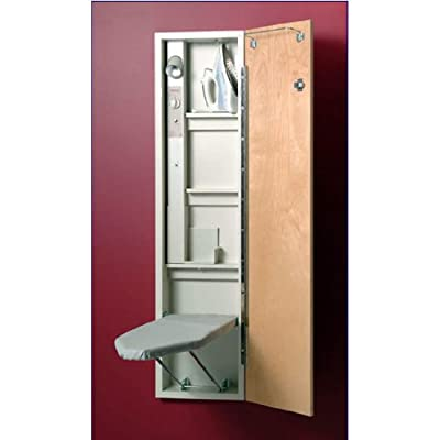 Iron A Way Wall Mounted Built In Ironing Board Center With Spotlight And 46  Inch Ironing Board, With Maple Raised Panel Door