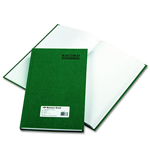 NATIONAL Emerald Series Record Book, Green Canvas Cover, 300 Pages, 12.125