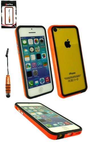 Emartbuy® Pack Stylet Pour Apple Iphone 5c Orange Métallique Mini Stylet + Protecteur D'Écran Lcd + Solide Moulé Gel / Étui / Housse Housse / De Butoir Orange / Noir