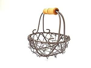 Conjunto de 10 cestas de alambre mini huevo de Pascua del favor de la boda de la vendimia lamentable Pequeño sostenedor redondo